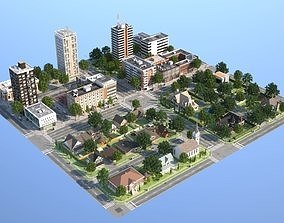 Town with suburb 3D asset