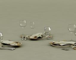 Buffet Ballroom Table Settings 3D