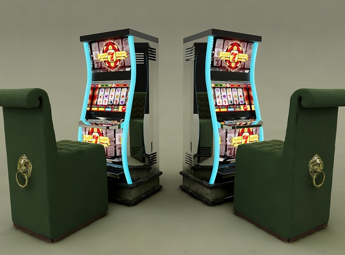 Modern Slotmachine And High Chair For Casi 3d Model