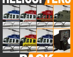 Helicopter - Bell 206L Pack with Interior 3D Model