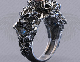 Biker Skull ring with Cabochon - 5 ring sizes 3D