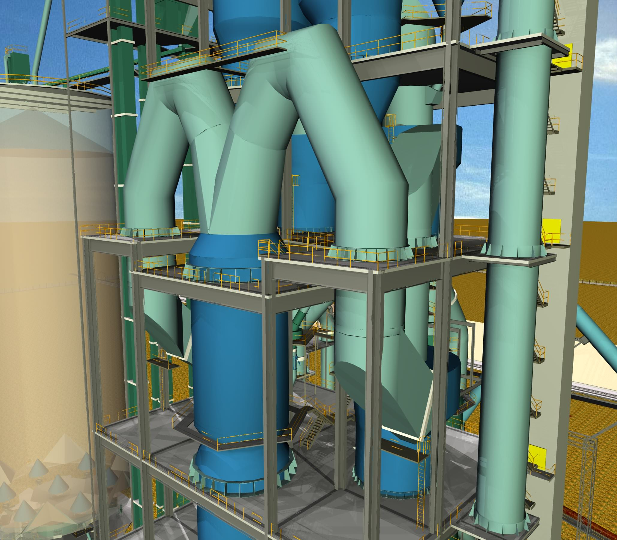 Cement Plant Preheater Cyclone Images : Cyclone preheater cement plant free d model dwg