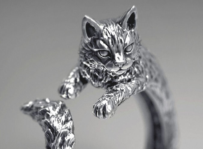 High detailed cat ring