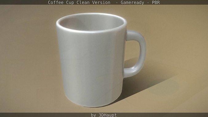 coffee cup clean version  - gameready - pbr 3d model low-poly obj mtl 3ds fbx dxf stl blend 1