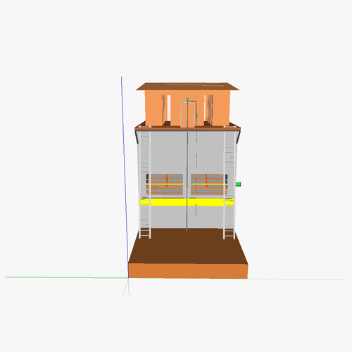 Composting toilet tower3D model