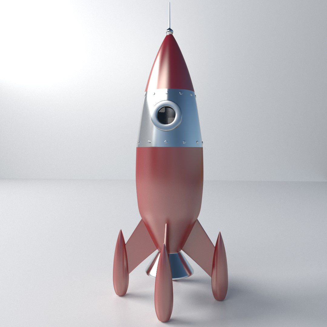 Retro Rocket 3D Model 3ds Fbx Blend Dae