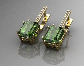 Earrings With Tourmaline Green 3D printable model