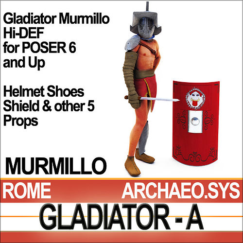 roman gladiator murmillo props poser daz 3d model rigged obj mtl 3ds c4d vue pz3 pp2 mat 1