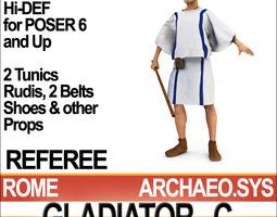 roman gladiator referee props poser daz 3d model obj 3ds c4d vue pz3 pp2