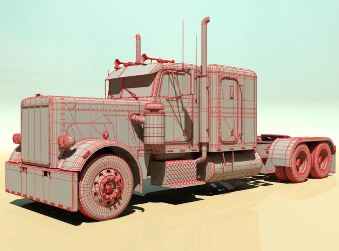 359 Custom Semi Truck 3d Model Max Obj 3ds Fbx