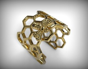 3D printable model Ring honeycomb and bee