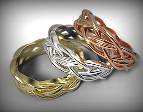 3D print model Celtic ornament band Braided ring Gold 2