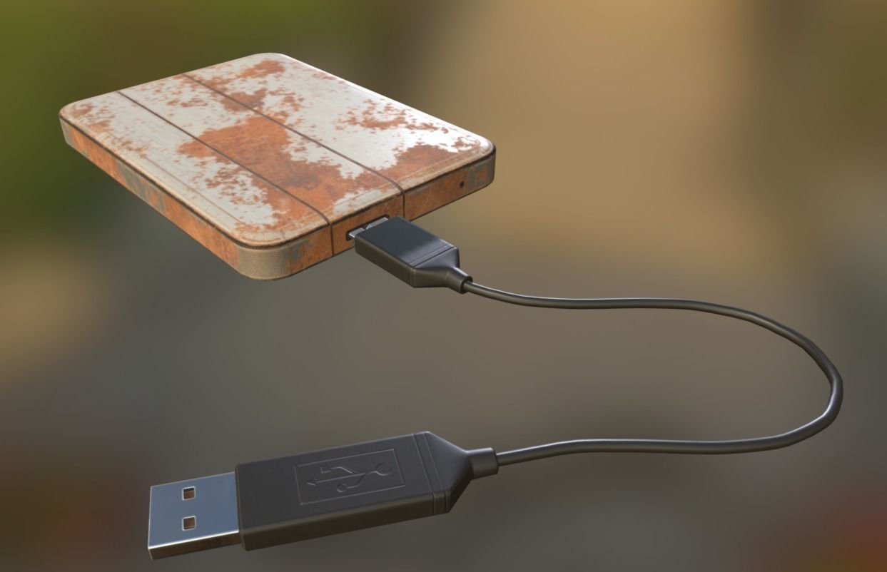 External HDD With USB Cable Rigged Rusty Version