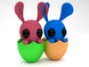 Twin Easter Bunny  3D Model