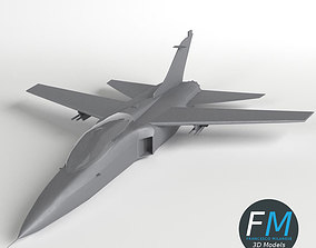 Fighter Jet Aircraft base mesh 3D asset low-poly