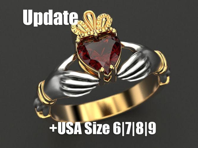 claddagh ring 3d model 3ds stl 3dm 1