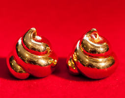 Lucky Golden Poo Earrings 3D Model