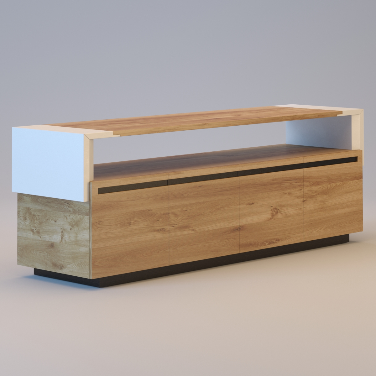 Crossing tanned leather sideboard 3d model max obj 3ds mtl for Sideboard 3d