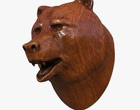 Wooden bear head 3D asset