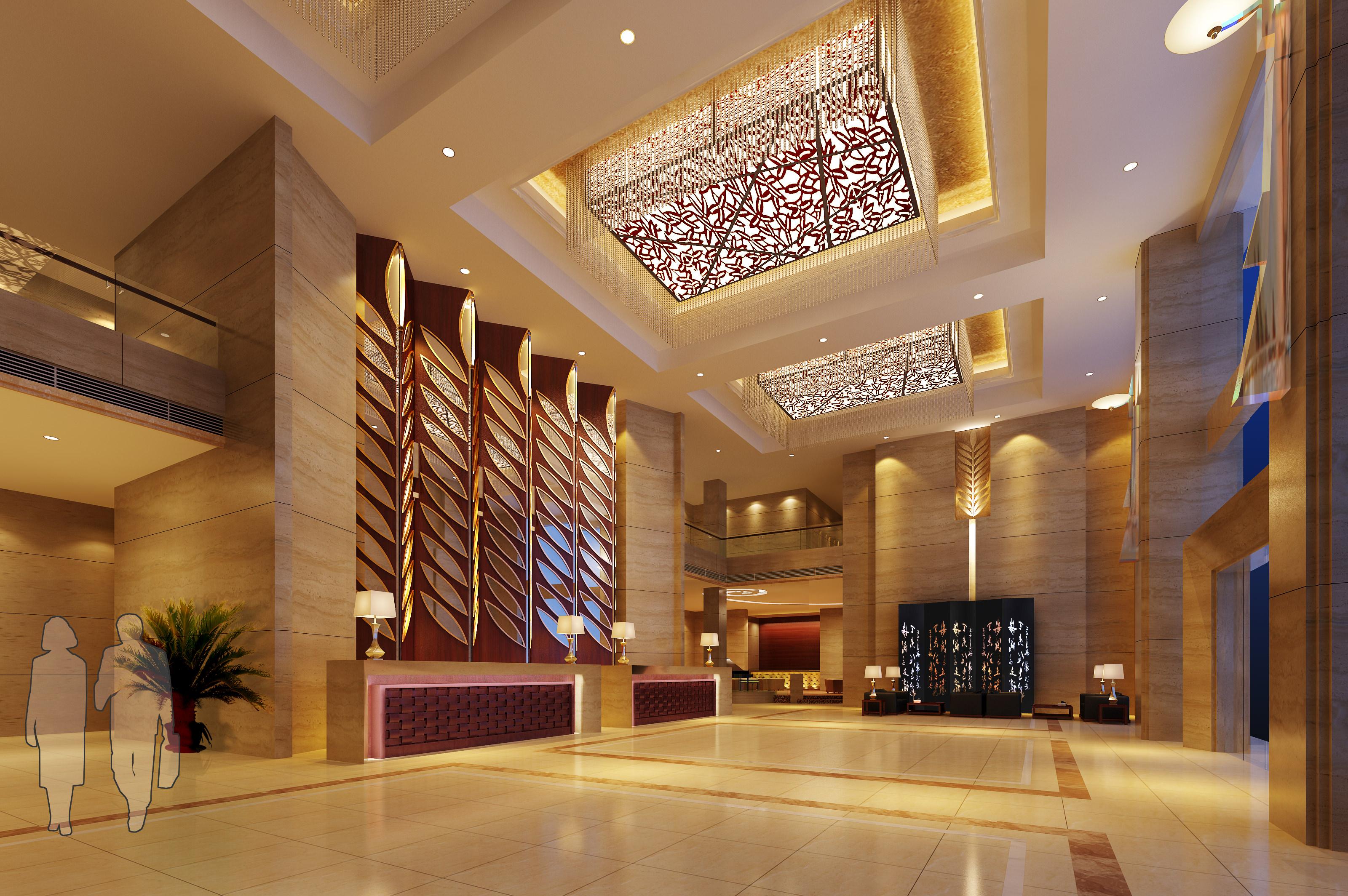 Luxury Lobby With Elegant Ceiling Decor 3d Model Max 1