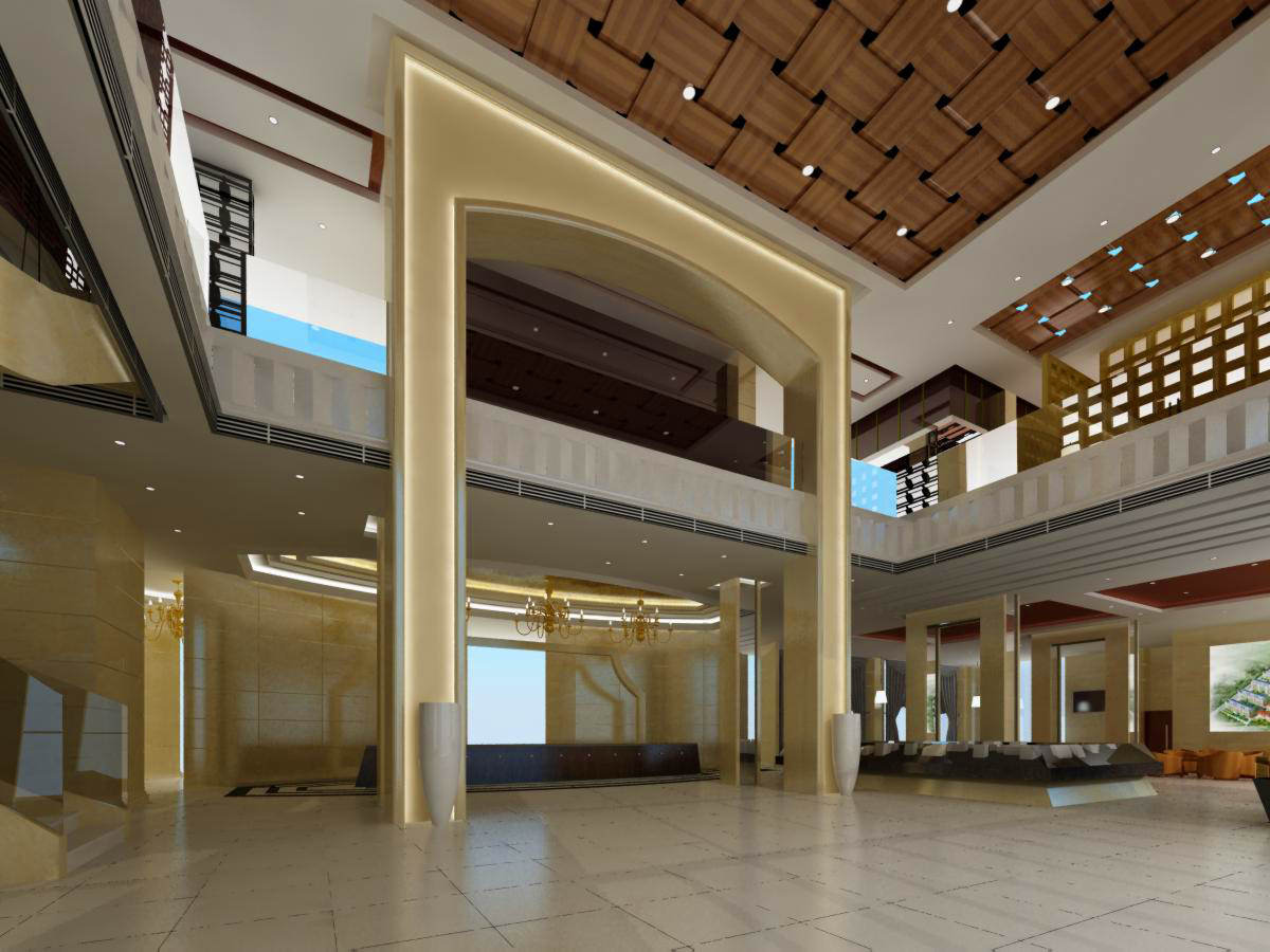 Foyer Ceiling Jobs : Spacious foyer with ceiling decor d model max cgtrader