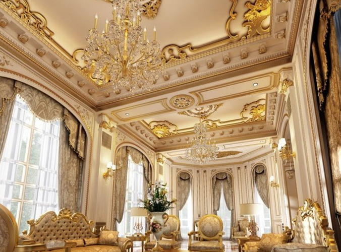 Aristocratic Living Room With Grand Furniture 3d Model Max 1 ...