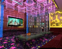 elegant pub with exquisite ceiling decor 3d model