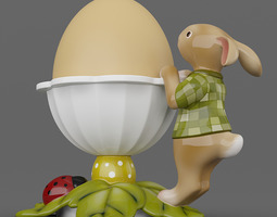 Leaves Bunny Egg Cup 05 3D Model