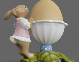 Leaves Bunny Egg Cup 06 3D Model