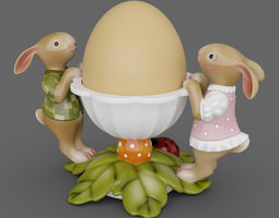 Leaves Bunnies Egg Cup 07 3D Model