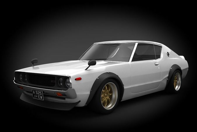 nissan skyline 1973 3d model low-poly max obj mtl fbx 1