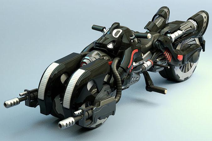 armed bike 3d model max obj fbx 1