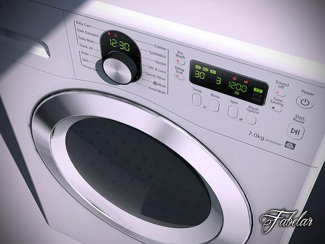 washing machine 3d model max obj mtl 3ds fbx c4d dae 1