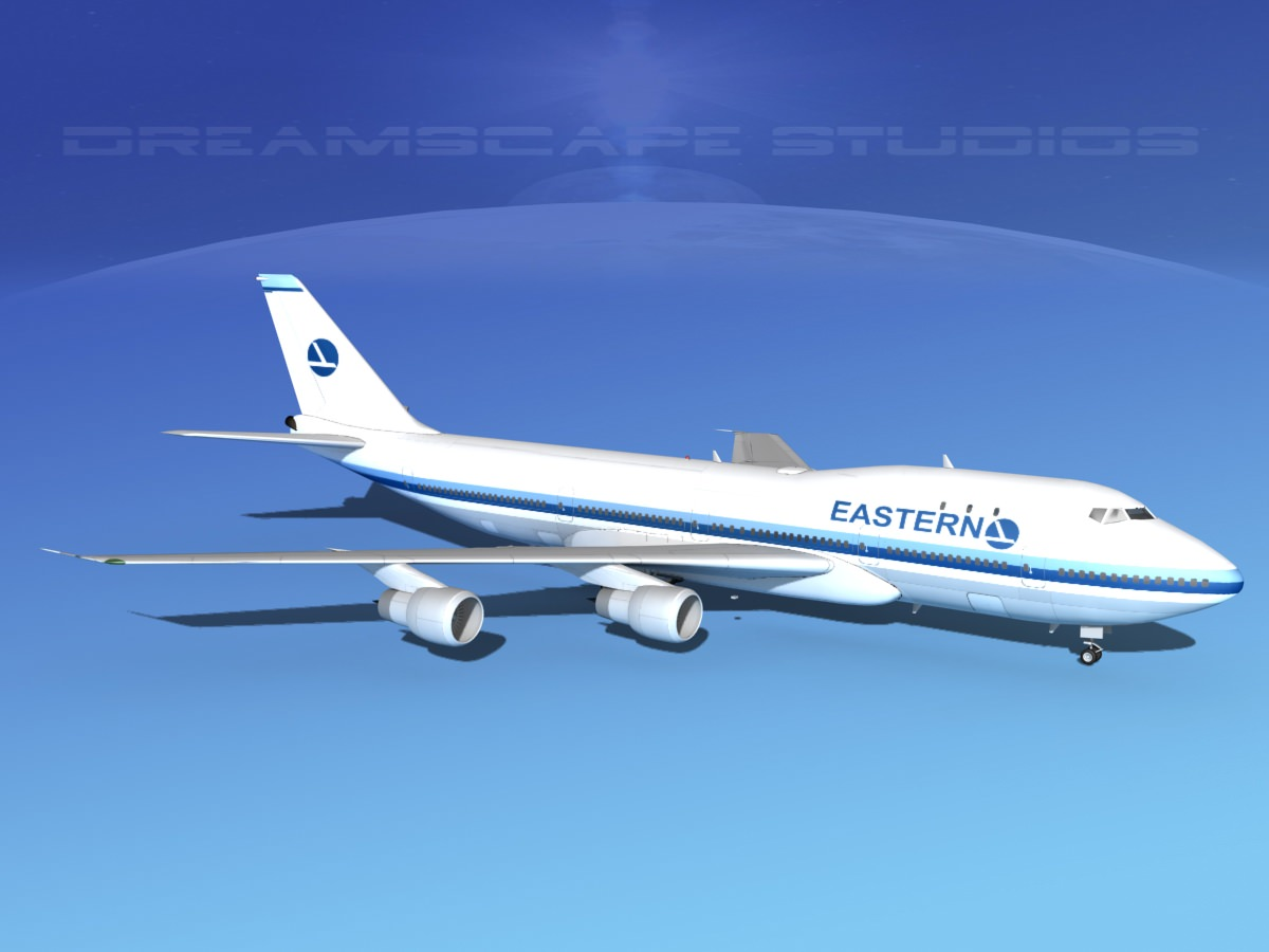 Boeing 747-100 Eastern Airlines 2 3D Model rigged MAX OBJ ...