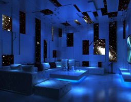 3D model Bar with Exquisite Blue Interior