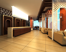 3D model Bar with Oriental Interior