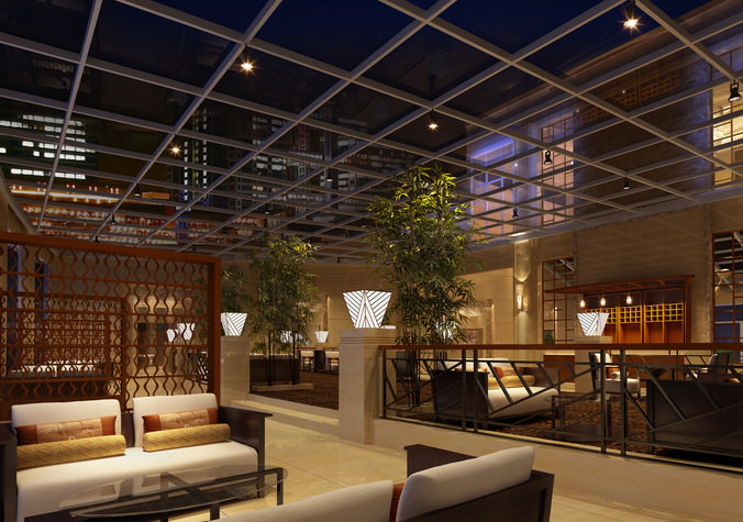 posh bar interior with wooden partition 3d model max 1