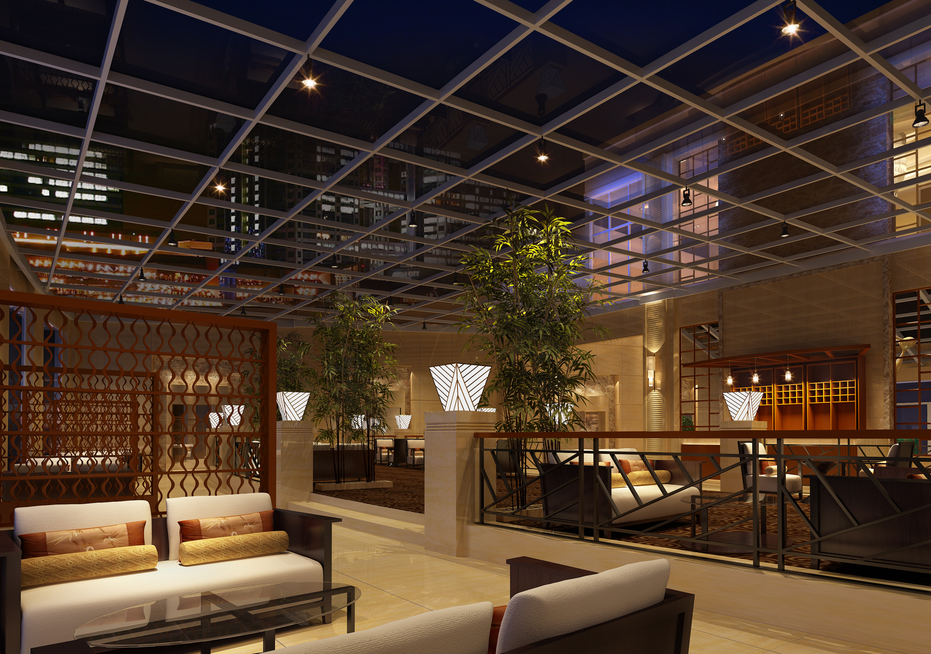 posh bar interior with wooden partition 3d model