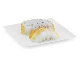 Sliced Bread on White Plate 2 3D
