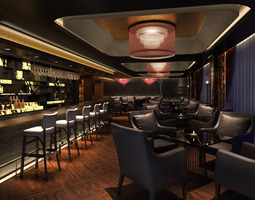 Posh Bar with Exotic Chandeliers 3D model