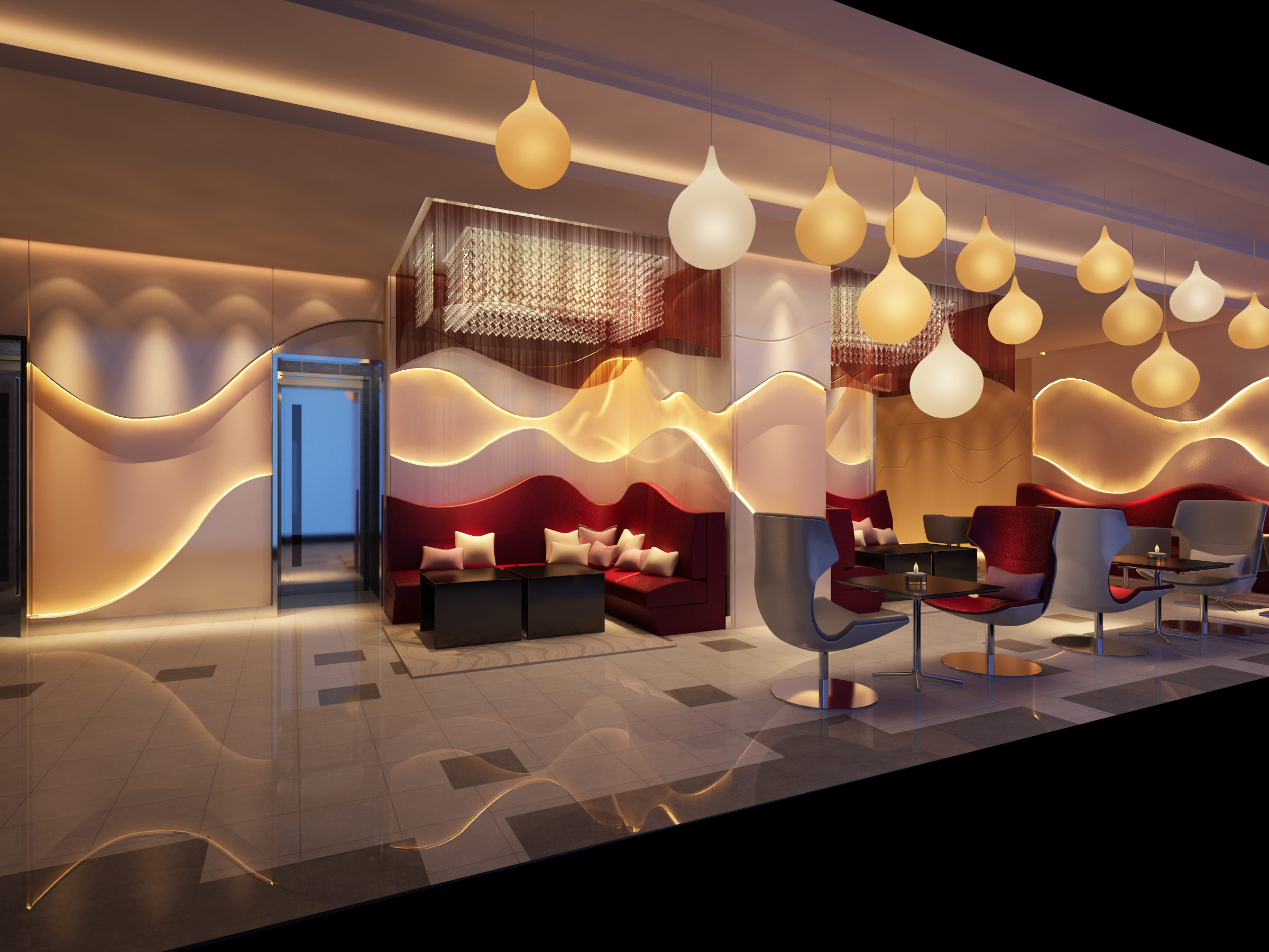Bar With Exotic Abstract Interior 3d Model Max 1 ...