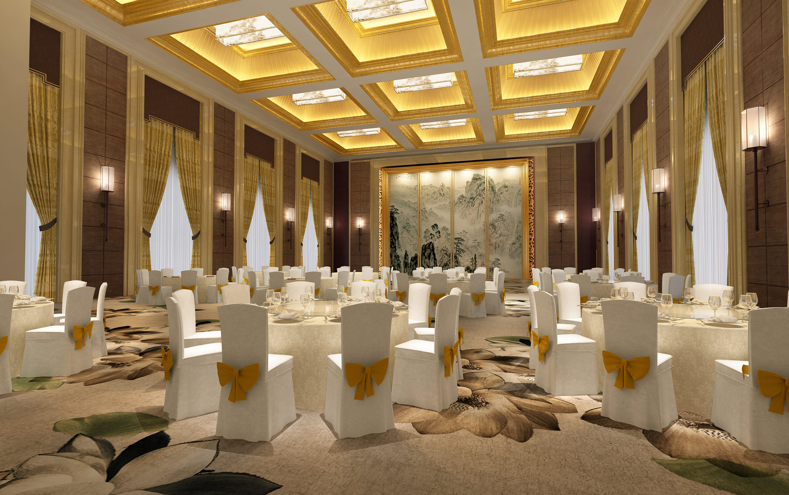 3d Model Spacious Carpeted Restaurant With Decor