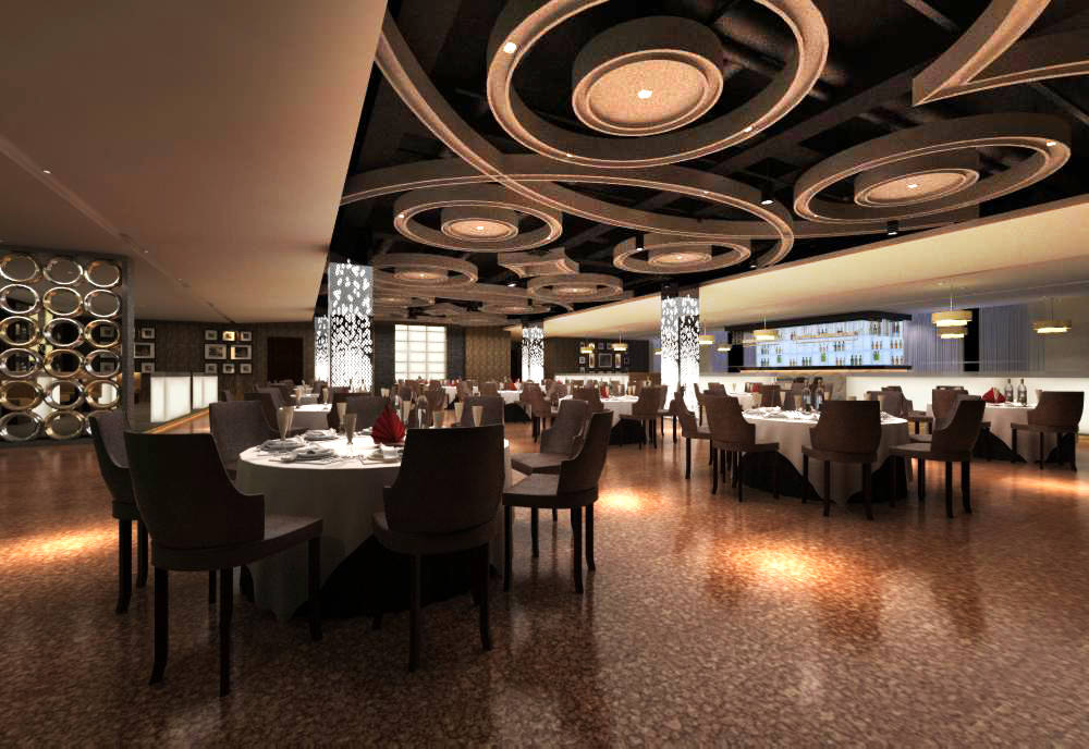 High End Restaurant With Marble Floor Model Max 1