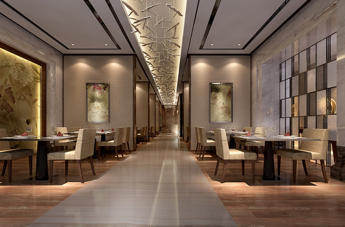 High end restaurant with designer chandeliers d model max