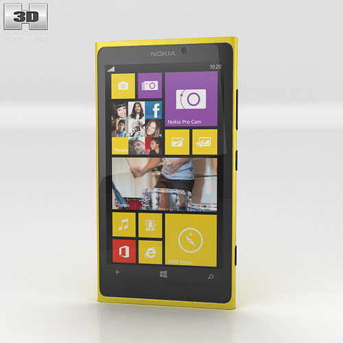 nokia lumia 1020 yellow 3d model max obj 3ds fbx c4d lwo lw lws 1