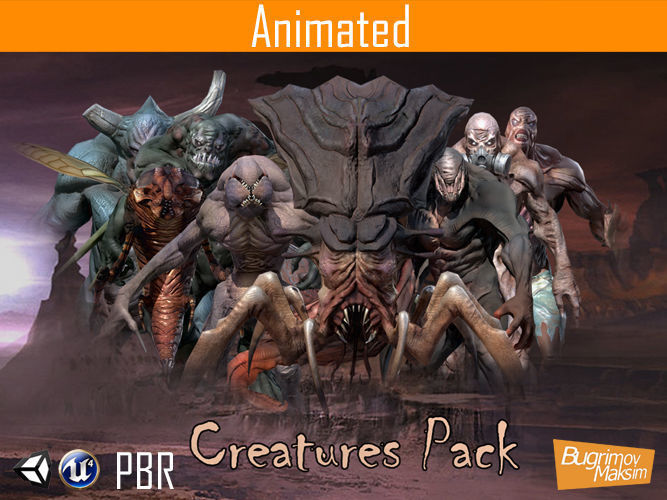 pbr creatures pack 3d model low-poly rigged animated obj mtl fbx tga 1