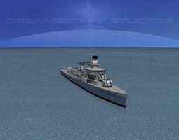 3d rigged sumner class destroyer  dd695 uss cooper