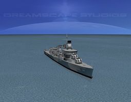 rigged sumner class destroyer  dd699 uss waldron 3d model