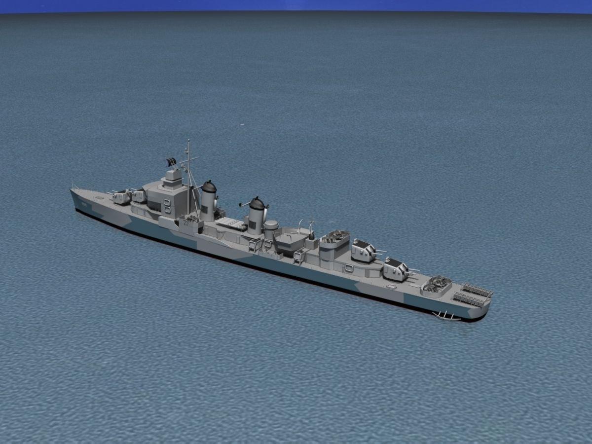 Sumner Class Destroyer DD699 USS Waldron 3D Model Rigged