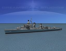 rigged 3d model sumner class destroyer  dd722 uss barton